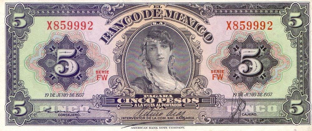 5 песо, мексика
